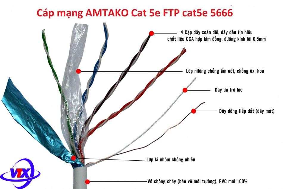 Cáp mạng AMTAKO Cat 5e FTP cat5e 5666 chính hãng, giá rẻ